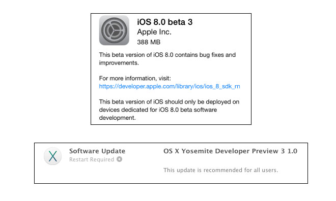 iOS 8 beta 3 and OS X Yosemite